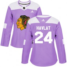 Women's Chicago Blackhawks #24 Martin Havlat Fights Cancer Practice Purple Authentic Jersey