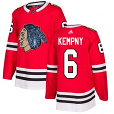 Chicago Blackhawks #6 Michal Kempny Black Indians-Face Red Authentic Jersey