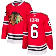 Youth Chicago Blackhawks #6 Michal Kempny Home Red Authentic Jersey