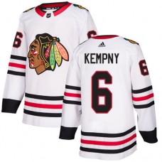 Youth Chicago Blackhawks #6 Michal Kempny White Away Authentic Jersey