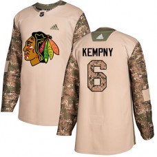 Youth Chicago Blackhawks #6 Michal Kempny Camo Veterans Day Practice Authentic Jersey