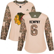 Women's Chicago Blackhawks #6 Michal Kempny Camo Veterans Day Practice Premier Jersey