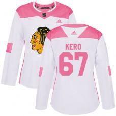 Women's Chicago Blackhawks #67 Tanner Kero Pink-White Fashion Authentic Jersey