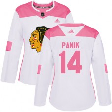 Women's Chicago Blackhawks #14 Richard Panik Pink-White Fashion Authentic Jersey