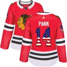 Women's Chicago Blackhawks #14 Richard Panik USA Flag Fashion Red Authentic Jersey