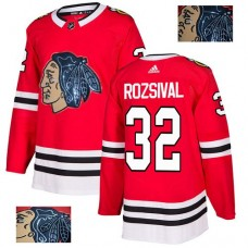 Chicago Blackhawks #32 Michal Rozsival Black Indians-Face Red Authentic Jersey