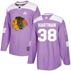 Youth Chicago Blackhawks #38 Ryan Hartman Fights Cancer Practice Purple Authentic Jersey