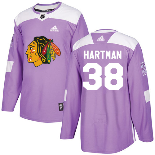 Youth Chicago Blackhawks #38 Ryan Hartman Fights Cancer Practice Purple Authentic Premier Jersey