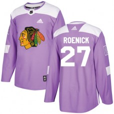 Chicago Blackhawks #27 Jeremy Roenick Fights Cancer Practice Purple Authentic Jersey