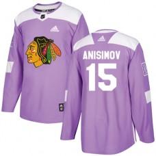 Chicago Blackhawks #15 Artem Anisimov Fights Cancer Practice Purple Authentic Jersey