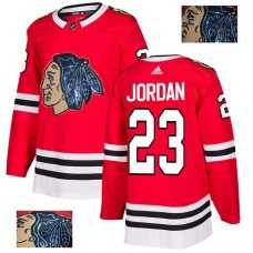 Chicago Blackhawks #23 Michael Jordan Black Indians-Face Red Authentic Jersey