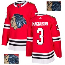 Chicago Blackhawks #3 Keith Magnuson Black Indians-Face Red Authentic Jersey