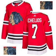 Chicago Blackhawks #7 Chris Chelios Black Indians-Face Red Authentic Jersey