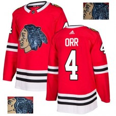 Chicago Blackhawks #4 Bobby Orr Black Indians-Face Red Authentic Jersey