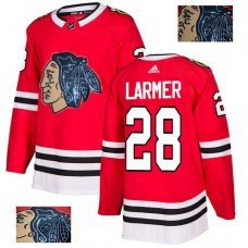 Chicago Blackhawks #28 Steve Larmer Black Indians-Face Red Authentic Jersey