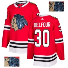 Chicago Blackhawks #30 ED Belfour Black Indians-Face Red Authentic Jersey