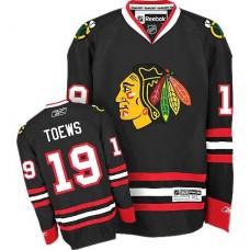 Kid's Chicago Blackhawks #19 Jonathan Toews Authentic Black Third Reebok Jersey