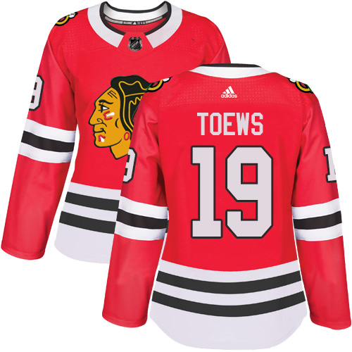 Women's Chicago Blackhawks #19 Jonathan Toews Authentic Red Home Adidas Jersey