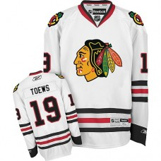 Women's Chicago Blackhawks #19 Jonathan Toews Premier White Away Reebok Jersey
