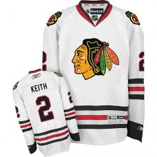 Kid's Chicago Blackhawks #2 Duncan Keith Authentic White Away Reebok Jersey