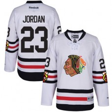Kid's Chicago Blackhawks #23 Michael Jordan Premier White 2017 Winter Classic Reebok Jersey