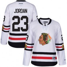 Women's Chicago Blackhawks #23 Michael Jordan Premier White 2017 Winter Classic Reebok Jersey