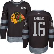 Chicago Blackhawks #16 Marcus Kruger Authentic Black 1917-2017 100th Anniversary Adidas Jersey