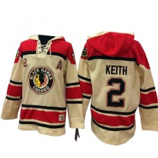 Old Time Hockey Chicago Blackhawks #2 Duncan Keith Authentic Cream Sawyer Hooded Sweatshirt