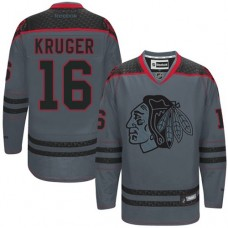 Chicago Blackhawks #16 Marcus Kruger Authentic Charcoal Cross Check Fashion Reebok Jersey
