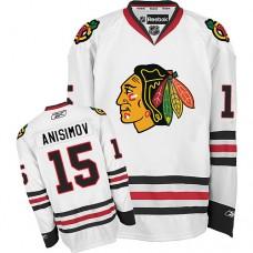 Kid's Chicago Blackhawks #15 Artem Anisimov Authentic White Away Reebok Jersey
