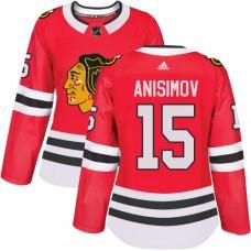 Women's Chicago Blackhawks #15 Artem Anisimov Premier Red Home Adidas Jersey