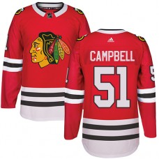 Kid's Chicago Blackhawks #51 Brian Campbell Authentic Red Home Adidas Jersey