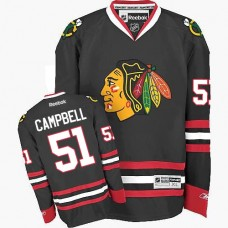 Kid's Chicago Blackhawks #51 Brian Campbell Authentic Black Third Reebok Jersey