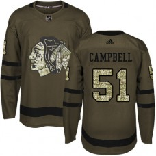 Kid's Chicago Blackhawks #51 Brian Campbell Authentic Green Salute to Service Adidas Jersey