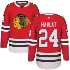 Kid's Chicago Blackhawks #24 Martin Havlat Authentic Red Home Adidas Jersey