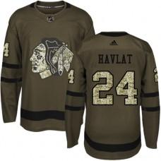 Kid's Chicago Blackhawks #24 Martin Havlat Authentic Green Salute to Service Adidas Jersey