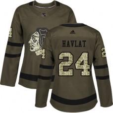 Women's Chicago Blackhawks #24 Martin Havlat Authentic Green Salute to Service Adidas Jersey