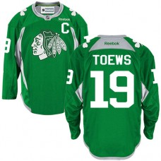 Chicago Blackhawks #19 Jonathan Toews Authentic Green Practice Reebok Jersey