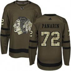 Kid's Chicago Blackhawks #72 Artemi Panarin Authentic Green Salute to Service Adidas Jersey