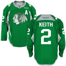 Chicago Blackhawks #2 Duncan Keith Authentic Green Practice Reebok Jersey