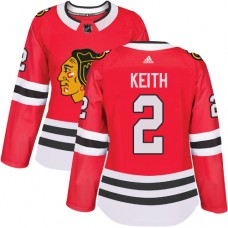 Women's Chicago Blackhawks #2 Duncan Keith Authentic Red Home Adidas Jersey