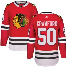 Chicago Blackhawks #50 Corey Crawford Authentic Red Home Adidas Jersey