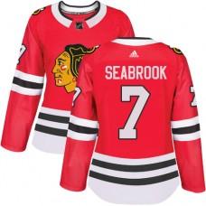 Women's Chicago Blackhawks #7 Brent Seabrook Premier Red Home Adidas Jersey