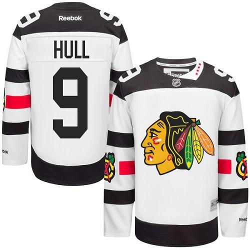 Kid's Chicago Blackhawks #9 Bobby Hull Authentic White 2016 Stadium Series Reebok Jersey