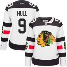Women's Chicago Blackhawks #9 Bobby Hull Authentic White 2016 Stadium Series Reebok Jersey
