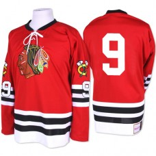 Chicago Blackhawks #9 Bobby Hull Authentic Red Mitchell and Ness 1960-61 Throwback Jersey
