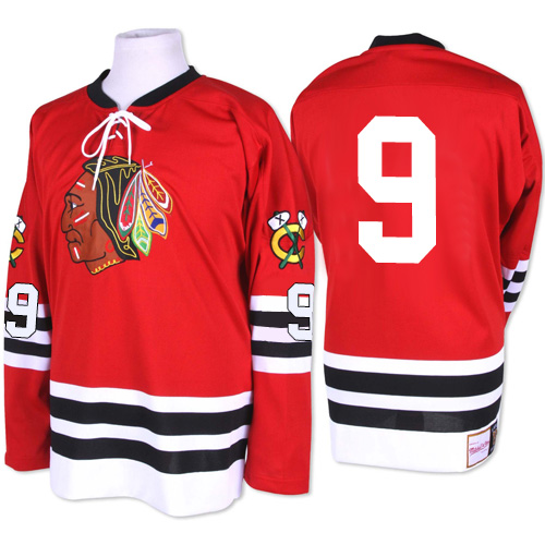 Chicago Blackhawks #9 Bobby Hull Authentic Red Mitchell and Ness ...