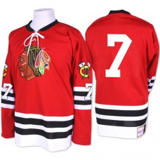 Chicago Blackhawks #7 Chris Chelios Authentic Red Mitchell and Ness 1960-61 Throwback Jersey