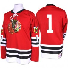 Chicago Blackhawks #1 Glenn Hall Authentic Red Mitchell and Ness 1960-61 Throwback Jersey