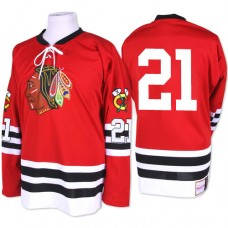 Chicago Blackhawks #21 Stan Mikita Authentic Red Mitchell and Ness 1960-61 Throwback Jersey